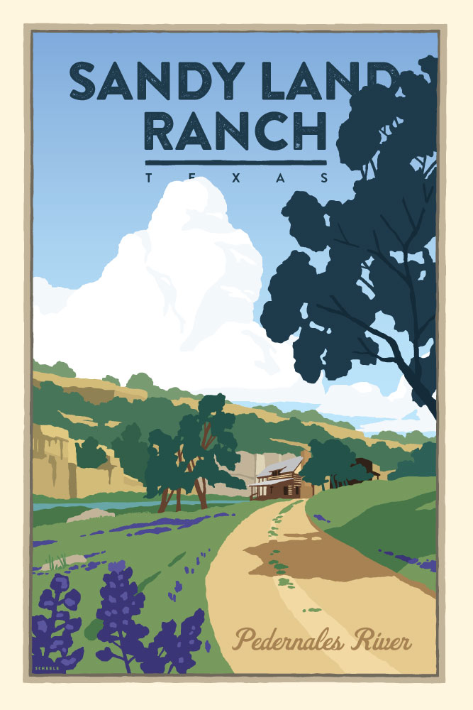 Sandy-Land-Ranch-Pedernales-River-Poster-Scheele